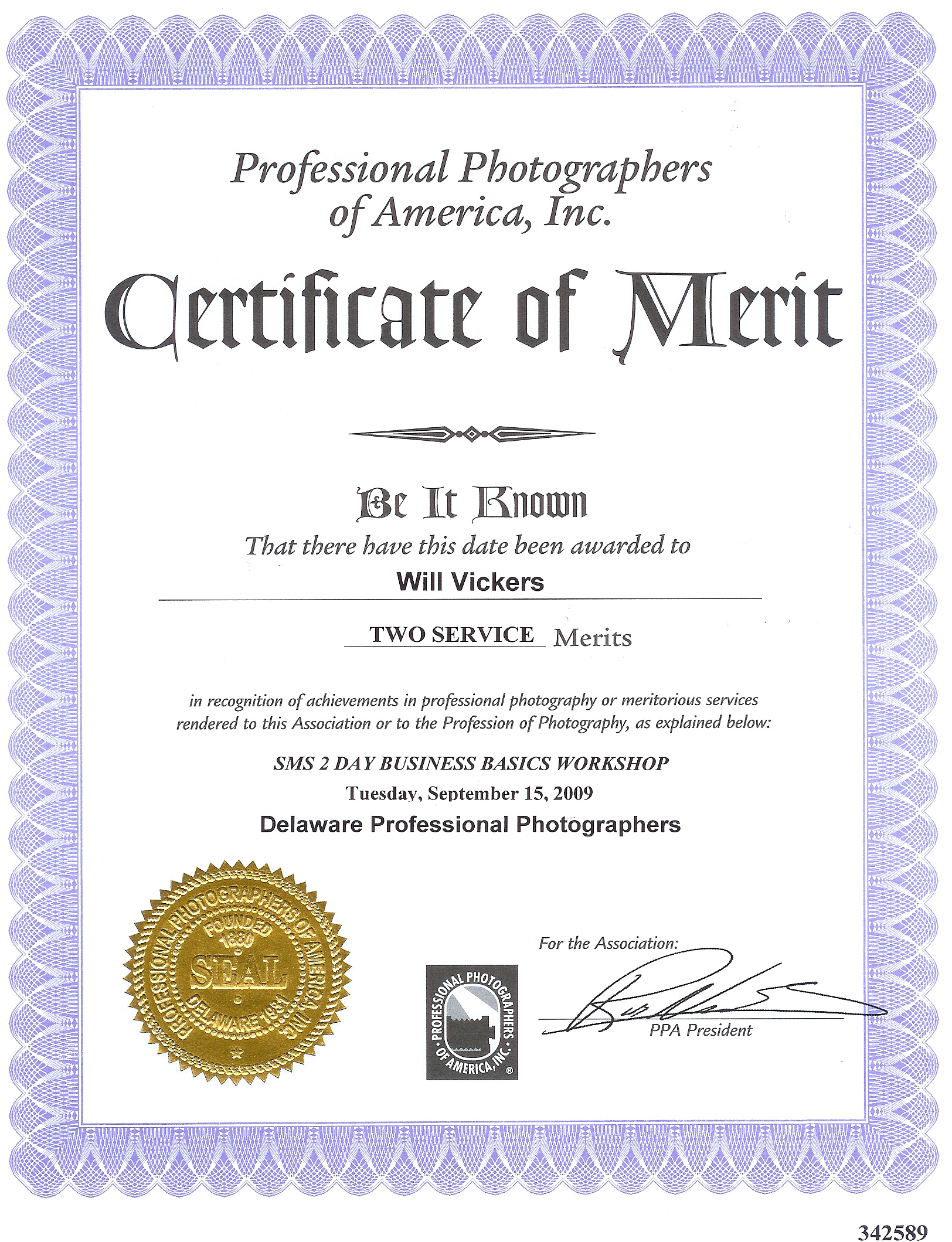 About Us Hitched Photography – Merit Certificate Sample